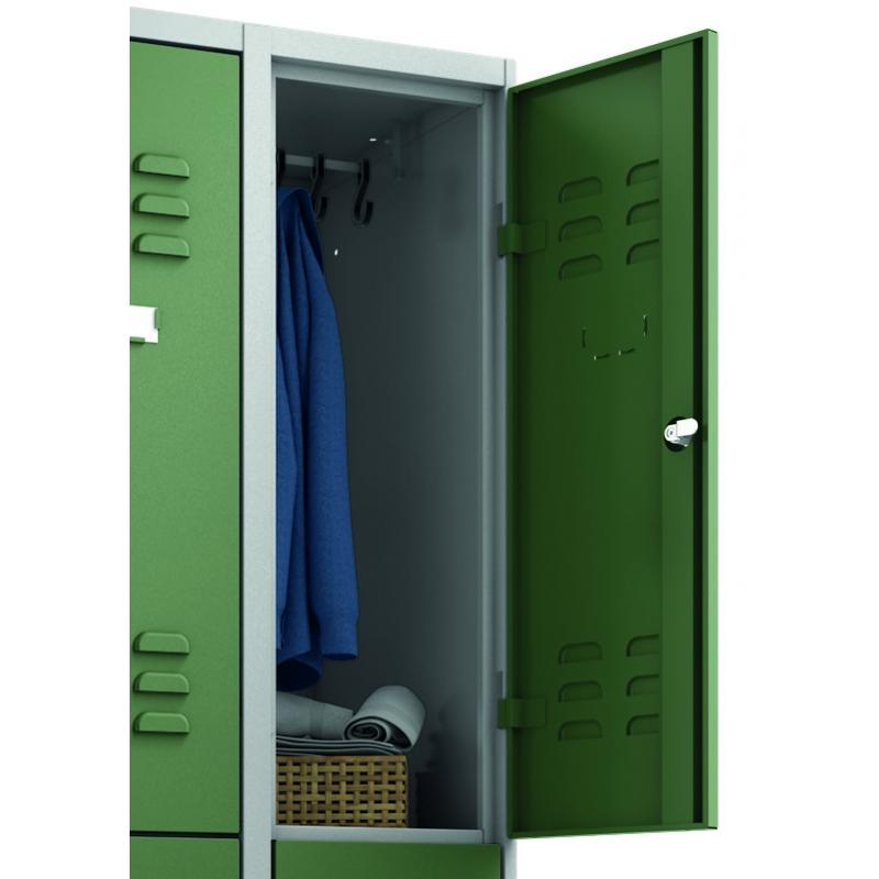 garderobenschrank mit sitzbank und 2 f chern 3 abteilen f r 6 personen. Black Bedroom Furniture Sets. Home Design Ideas