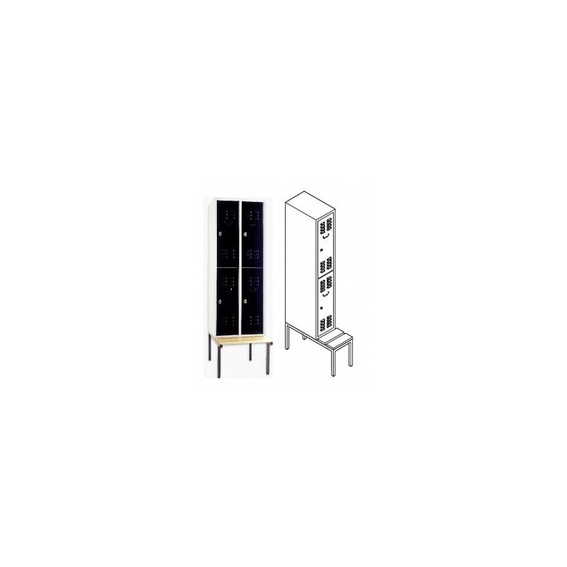 garderobenschrank mit sitzbank und 2 f chern 1 abteil f r 2 personen. Black Bedroom Furniture Sets. Home Design Ideas