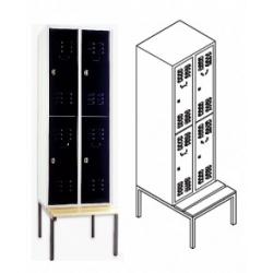 Garderobenschrank mit Sitzbank und 2 Fächern