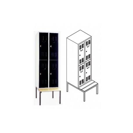 garderobenschrank mit sitzbank und 2 f chern 2 abteile f r 4 personen. Black Bedroom Furniture Sets. Home Design Ideas