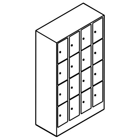 Schließfachschrank 4 Fächer Übereinander