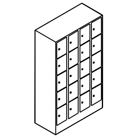 Schließfachschrank 5 Fächer Übereinander