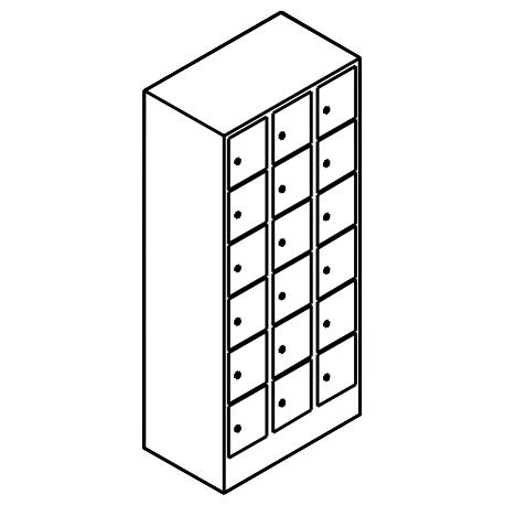 Schließfachschrank 6 Fächer Übereinander