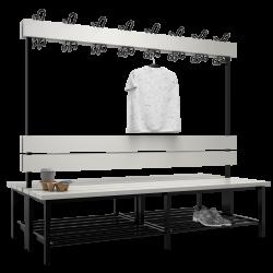 Doppelseitige Garderobenbank mit Kunststoffleisten