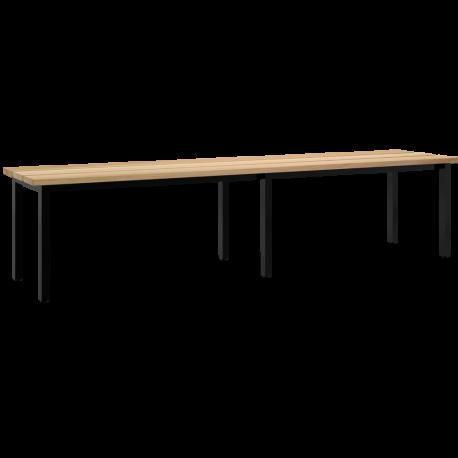 Freistehende Sitzbank mit Buchenholzleisten
