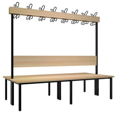Doppelseitige Garderobenbank mit Buchenholzleisten
